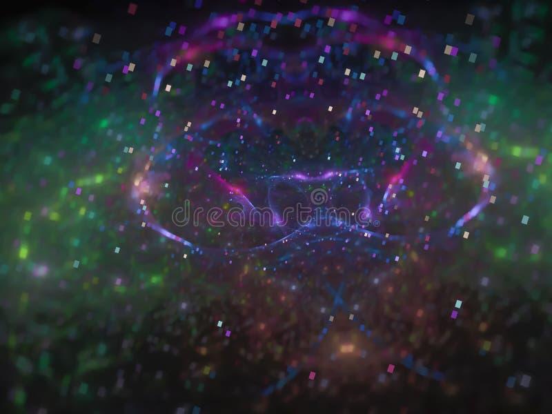 Fractalzusammenfassung, digitaler erzeugter Konzept-Lichthintergrund des Netzwissenschaftsmusters magischer, kreatives Design, Ch stockfoto