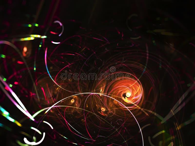 Fractalzusammenfassung, digitaler Hintergrund, Feierchaosenergieideen-Kartenfeuer übertragend kreativ, schöne Designmagie des Geh vektor abbildung