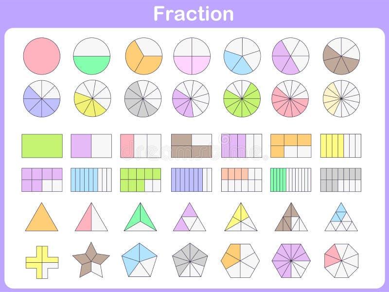 Fraction for education stock illustration