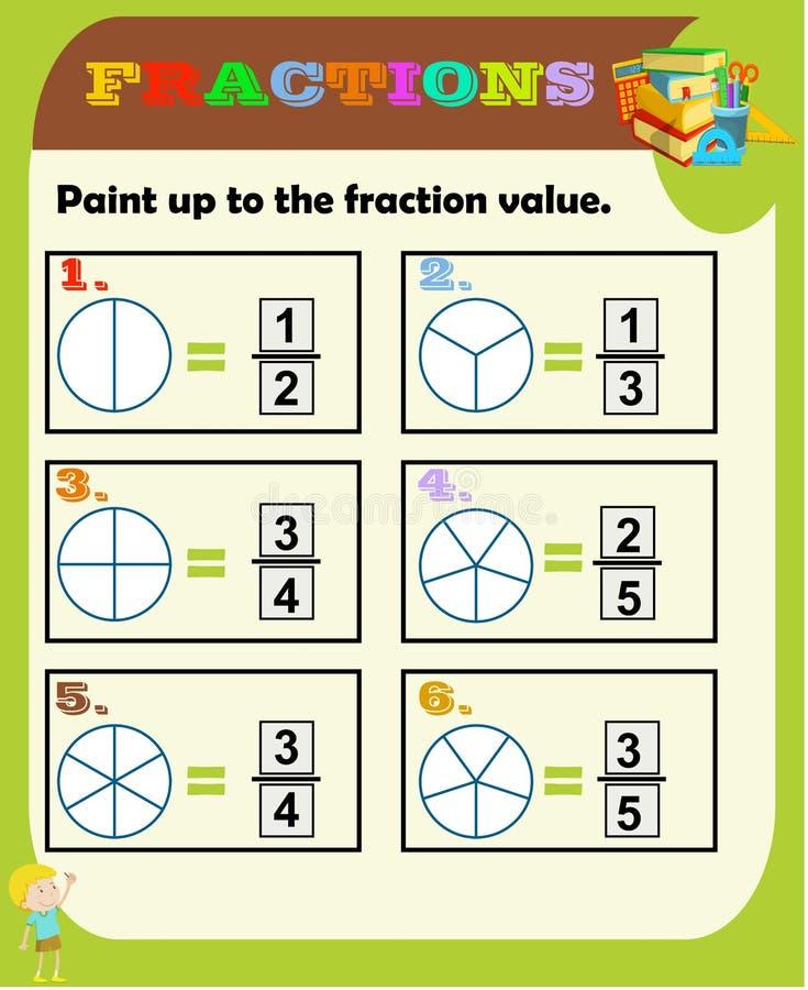 Fractionne la fiche de travail, examen de fraction, pratique en mati?re de fraction, les fractions ?ducatives et ?quivalentes, ac illustration libre de droits