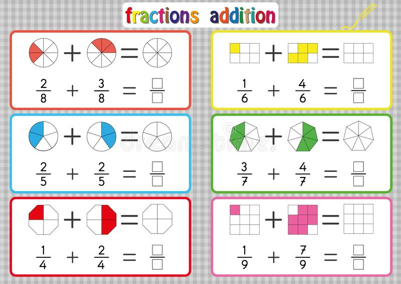 Fractions addition, fiches de travail imprimables de fractions pour des étudiants et professeurs, problèmes d'addition de fractio illustration libre de droits
