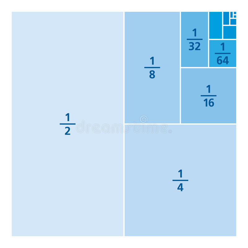 Fractions d'unité dessinées comme parties d'une place, bleues illustration stock