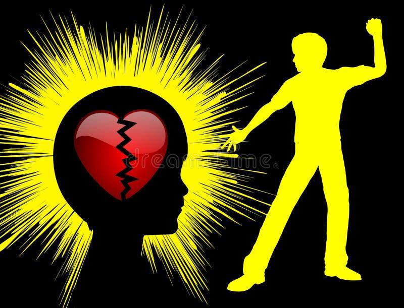 Fractura del corazón del niño stock de ilustración