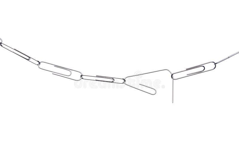 Fractura del encadenamiento del paperclip en blanco fotografía de archivo libre de regalías