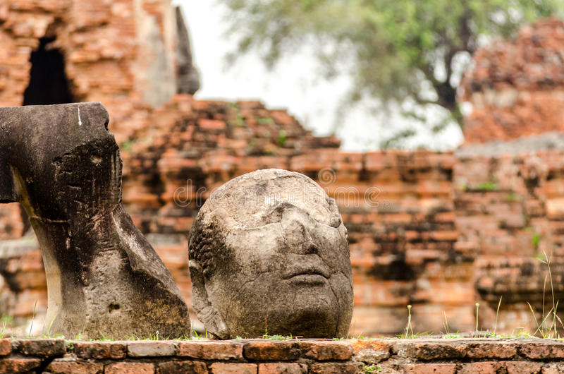 The Fracture buddha statue in Temple wat Mahathat in Ayutthaya royalty free stock photo