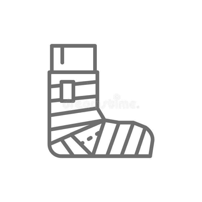 Fracture de jambe, plâtre, ligne élastique icône de bandage illustration stock