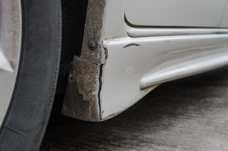Broken bumper car. Fracture of the lateral bumper cars royalty free stock image