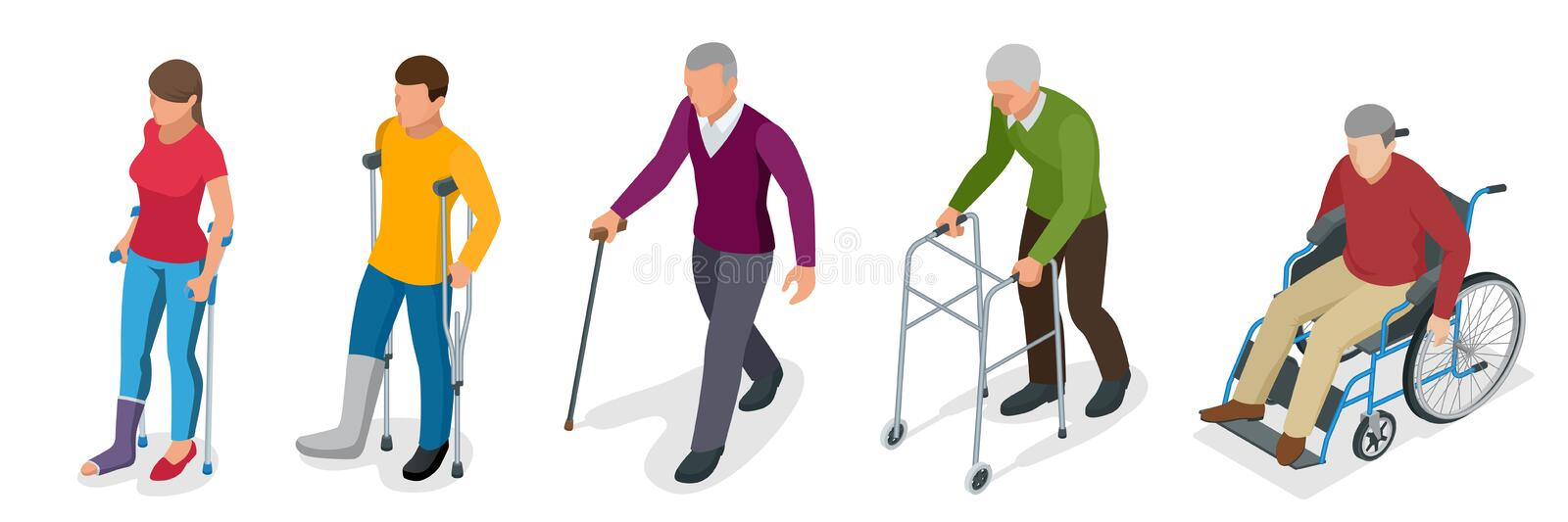 Fracture of leg or leg injury. Young and old people in a gyse with crutches, a wheelchair. Rehabilitation after trauma. Orthopedics and medicine. Flat 3d vector illustration