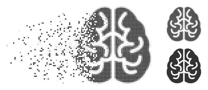Brain Dispersed Pixel Halftone Icon vector illustration