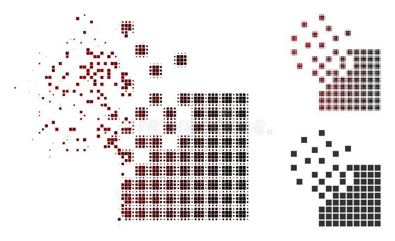 Fractured Dot Halftone Dissolving Pixel Mosaic Icon stock illustration