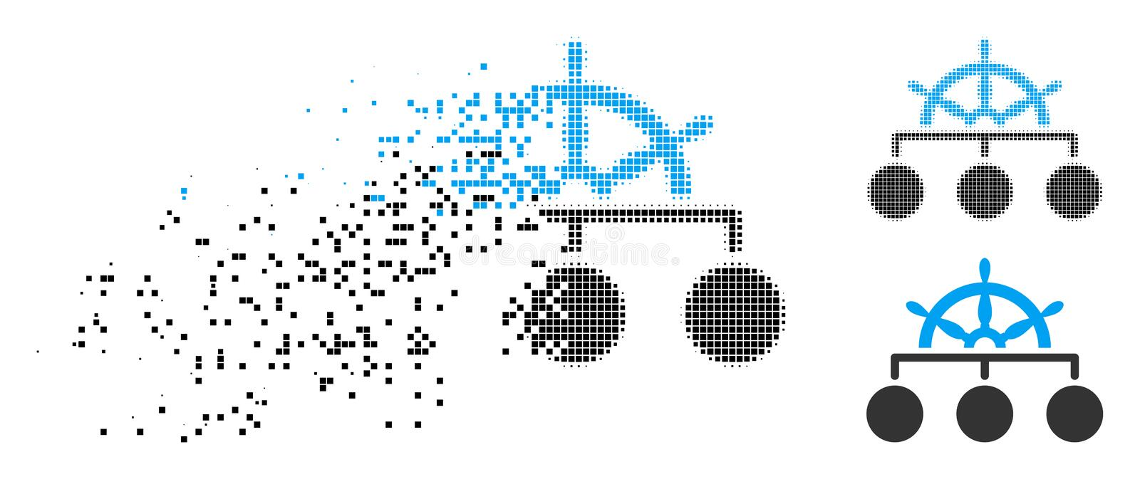 Fractured Dot Halftone Ship Wheel Hierarchy Icon royalty free illustration