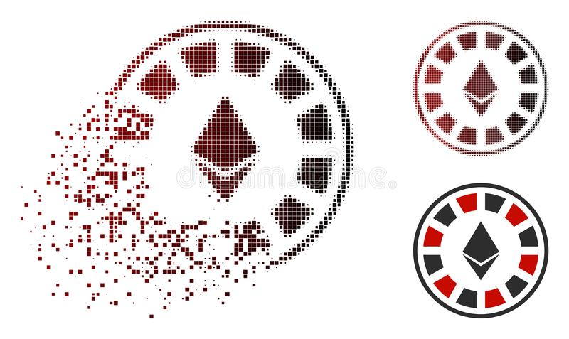 Fractured Dotted Halftone Ethereum Casino Roulette Icon. Ethereum casino roulette icon in sparkle, dotted halftone and undamaged entire versions. Particles are stock illustration