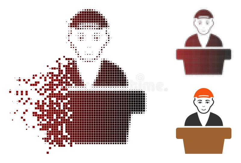 Fractured Dotted Halftone Official Clerk Icon stock illustration