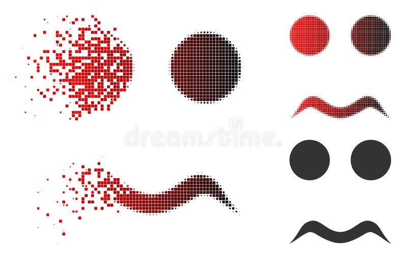 Fractured Dotted Halftone Worried Smiley Icon. Worried smiley icon in dispersed, pixelated halftone and undamaged whole versions. Pixels are arranged into vector vector illustration