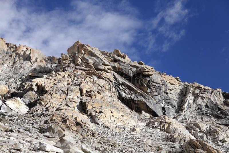 Fractured granite rocks near Khardung la (pass). Beautiful exposure of rock structure near Khardung la (pass royalty free stock image