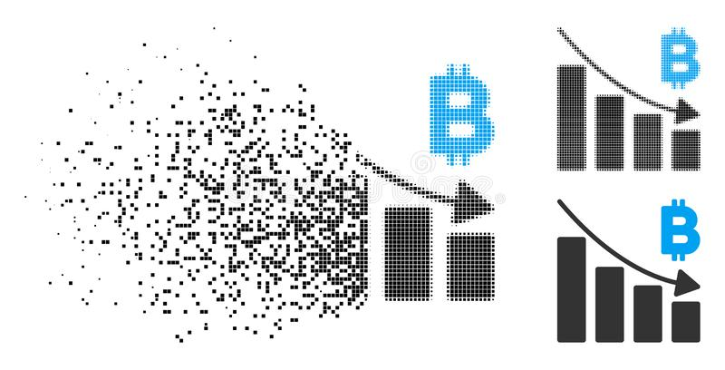Fractured Pixel Halftone Bitcoin Recession Bar Chart Icon royalty free illustration