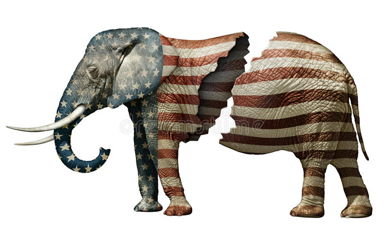 Fractured Republican Elephant stock photos