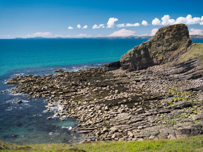 Fractured coastal rock strata on the Pembrokeshire Coast Path royalty free stock images