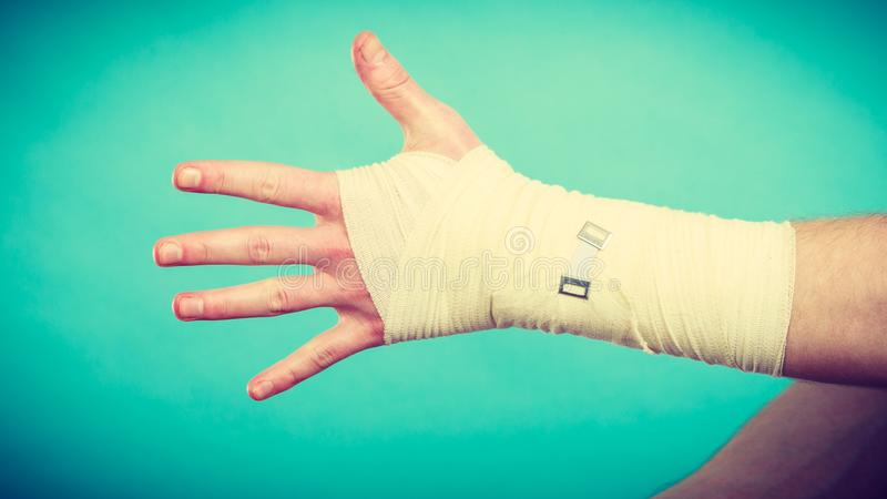 Male hand in bandage. royalty free stock photos