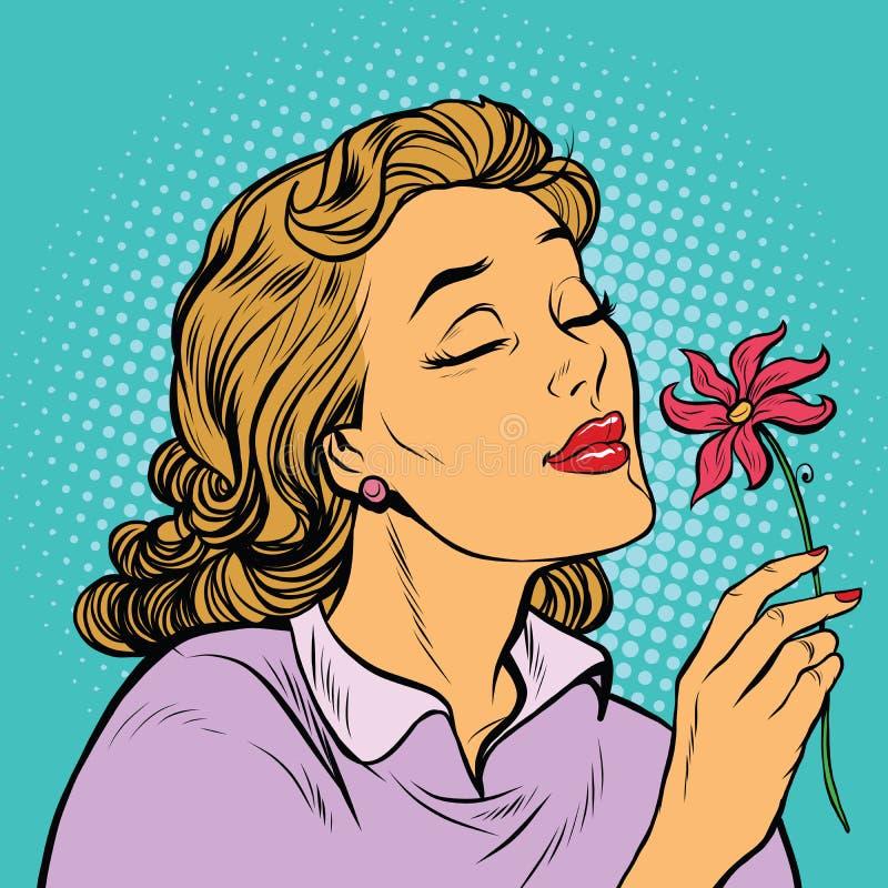 Fragancia hermosa de la inhalación de la mujer de una flor stock de ilustración