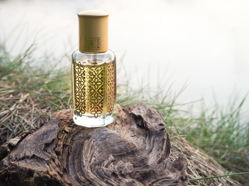 Fragancias árabes del perfume de la esencia del oud o del aceite del agarwood en mini botella imágenes de archivo libres de regalías