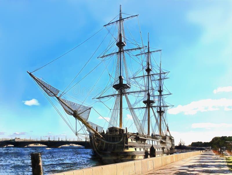 Fragata do navio em Neva River em St Petersburg ilustração stock