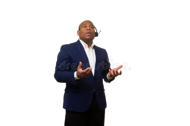 Frage Afroamerikaner-Geschäftsmann-Asking A lizenzfreie stockfotos
