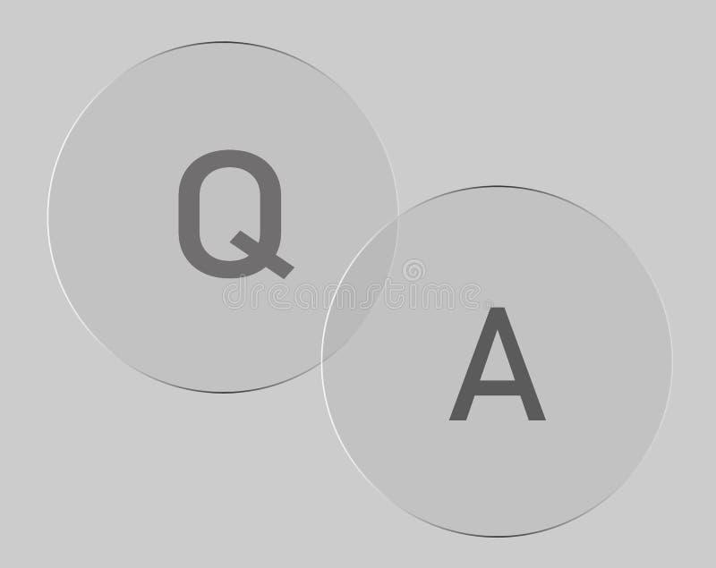 Frage-Antwortikone auf grauem Hintergrund vektor abbildung
