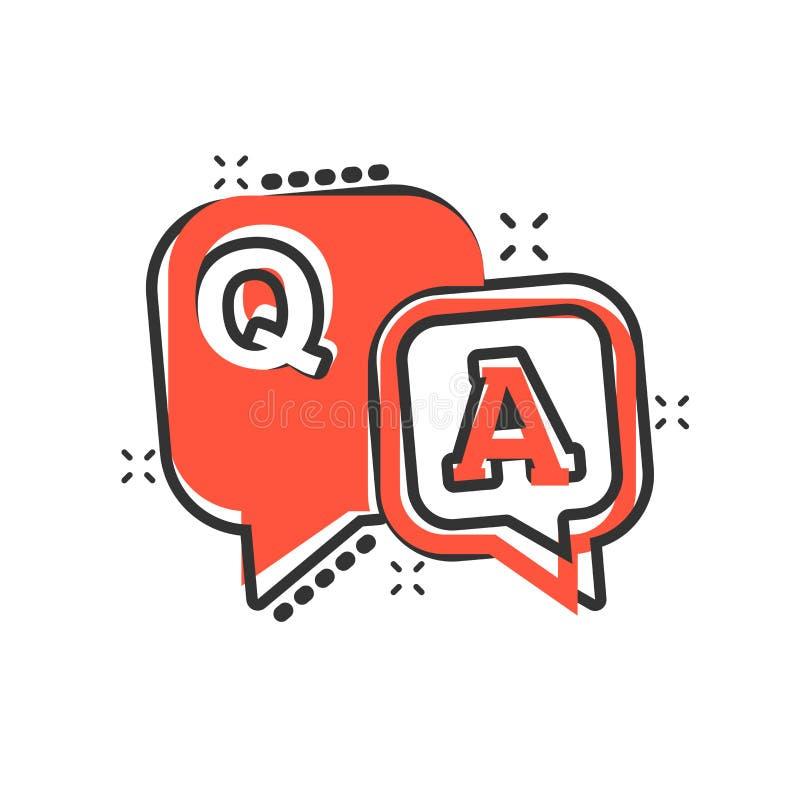 Frage-Antwortikone in der komischen Art Diskussionsspracheblasenvektorkarikatur-Illustrationspiktogramm Frage, Antwortgeschäft lizenzfreie abbildung