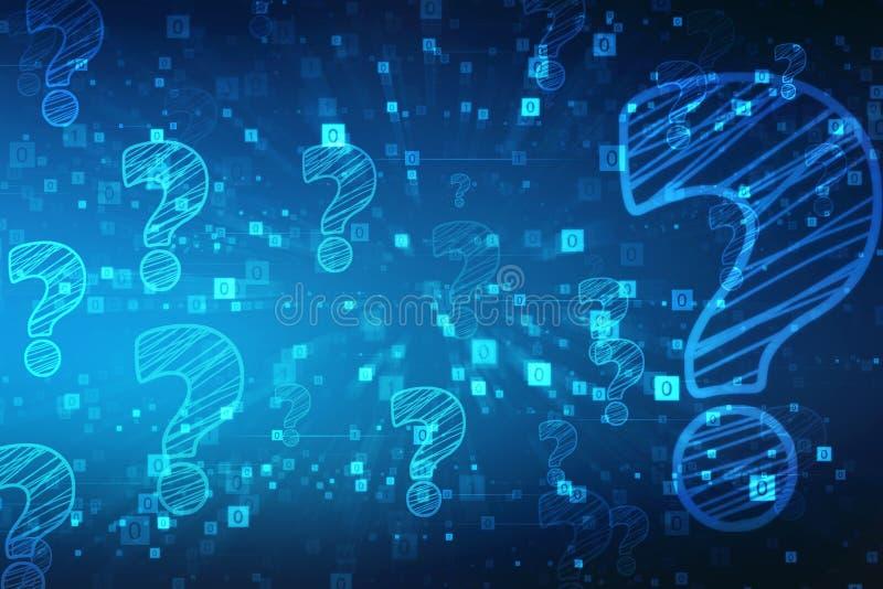 Frage Mark Symbol in Digitaltechnik Hintergrund stock abbildung