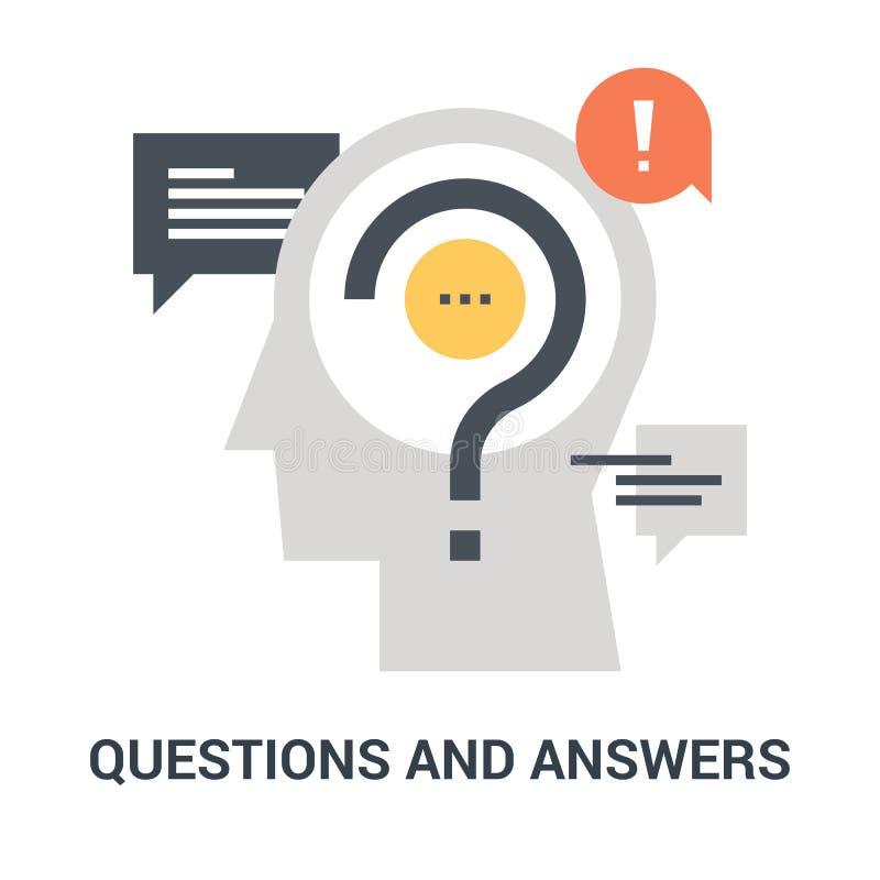 Frage und Antworten-Ikonenkonzept lizenzfreies stockbild