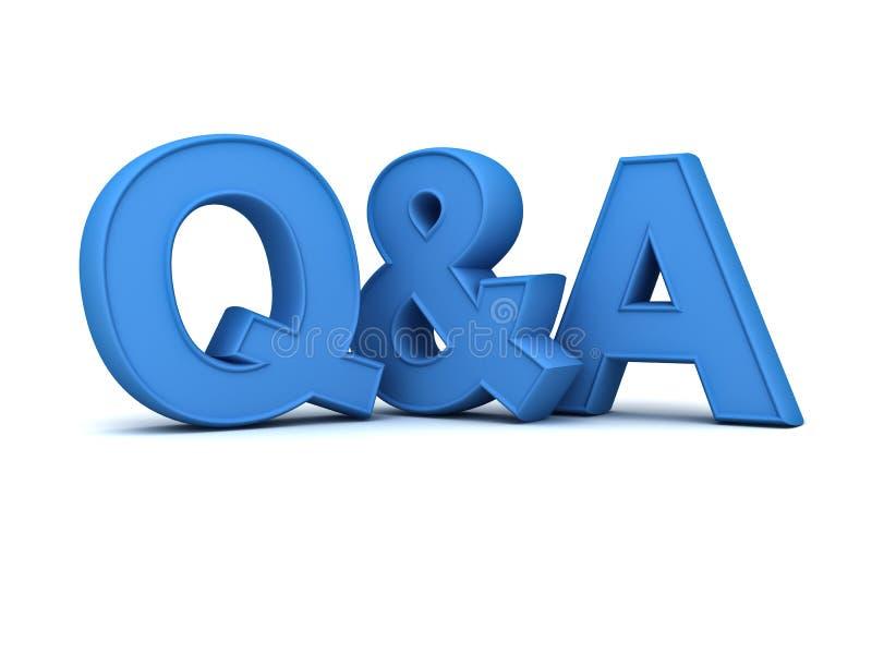 Frage und Antworten-Konzept blauer Q und a-Text lizenzfreie abbildung