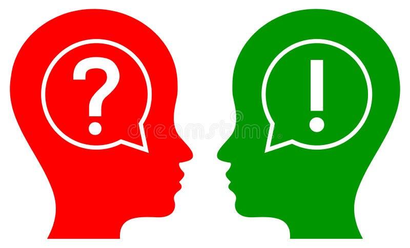 Frage und Antworten-Konzept des menschlichen Kopfes lizenzfreie abbildung