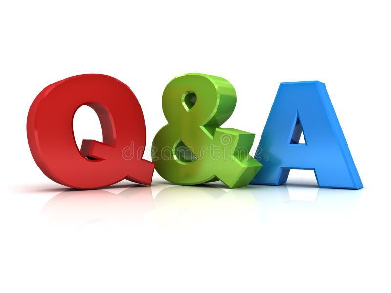Frage und Antworten-Konzept Q und a-Wort stock abbildung