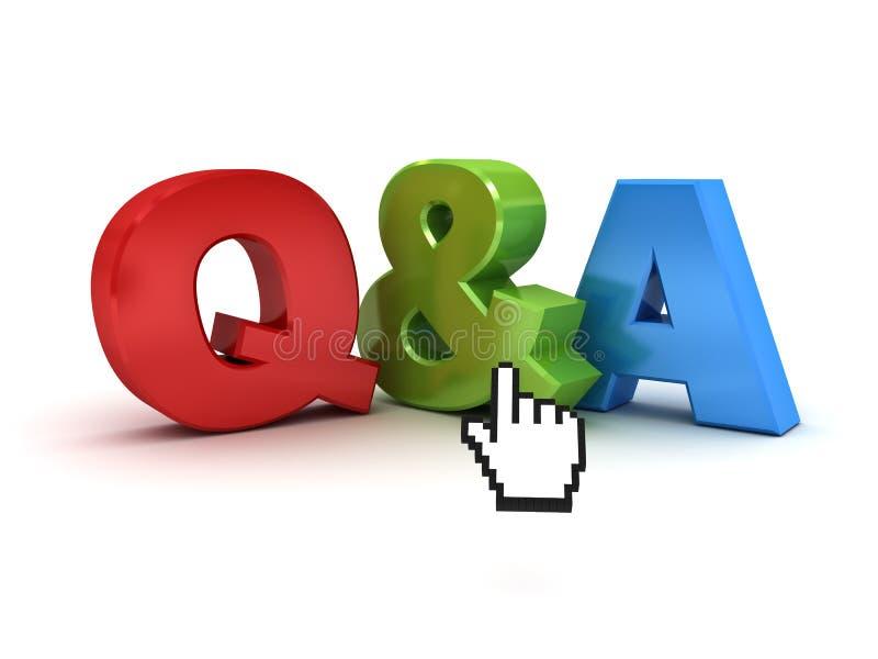 Frage und Antworten-Konzept Q und a-Wort mit Computer übergeben Cursor über Weiß lizenzfreie abbildung
