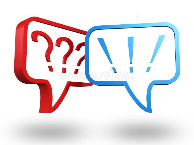 Frage und Ausrufsmarkierungen in den Spracheluftblasen vektor abbildung