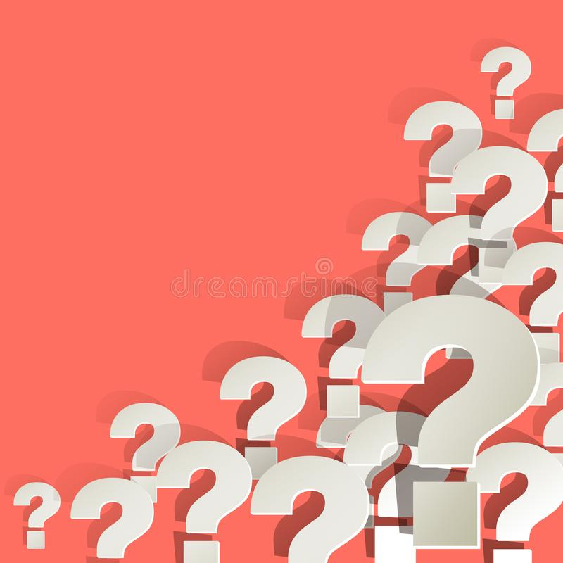 Question Marks white in the corner on a Coral color background vector illustration