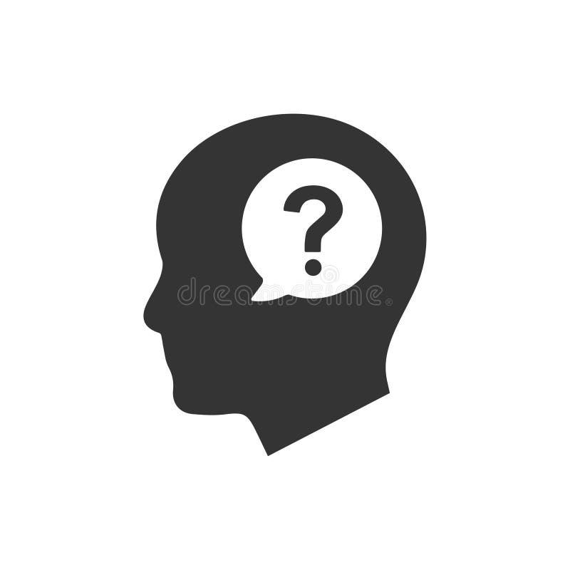 Fragen-denkende Ikone lizenzfreie abbildung