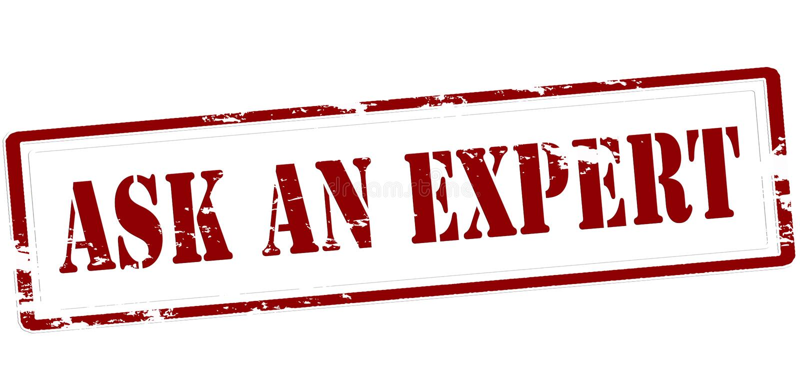 Fragen Sie einen Experten stock abbildung