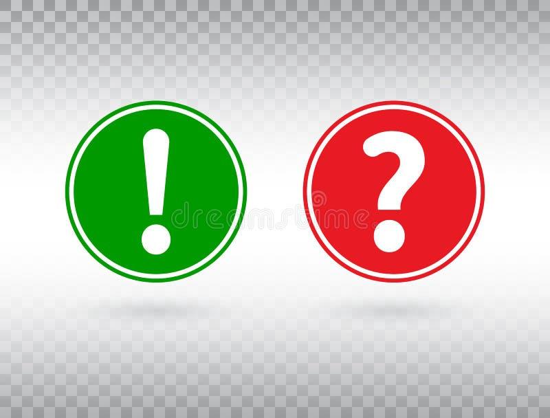 Fragen- und Ausrufezeichenikonensatz Hilfszeichen und Warnsymbol FAQ-Symbol auf transparentem Hintergrund Rot und lizenzfreie abbildung
