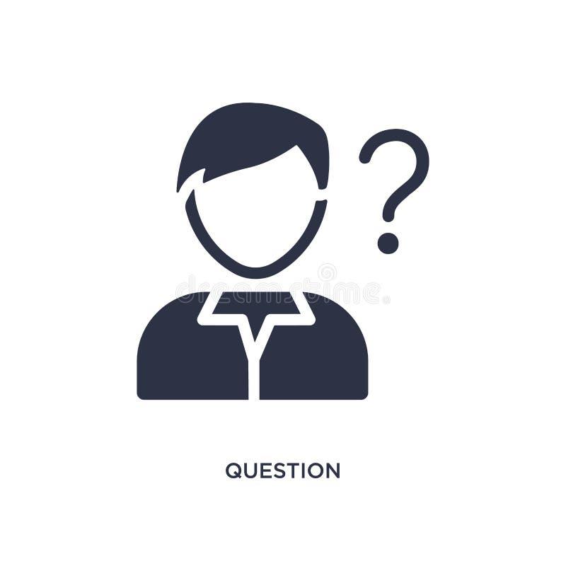 Fragenikone auf weißem Hintergrund Einfache Elementillustration vom Strategiekonzept stock abbildung