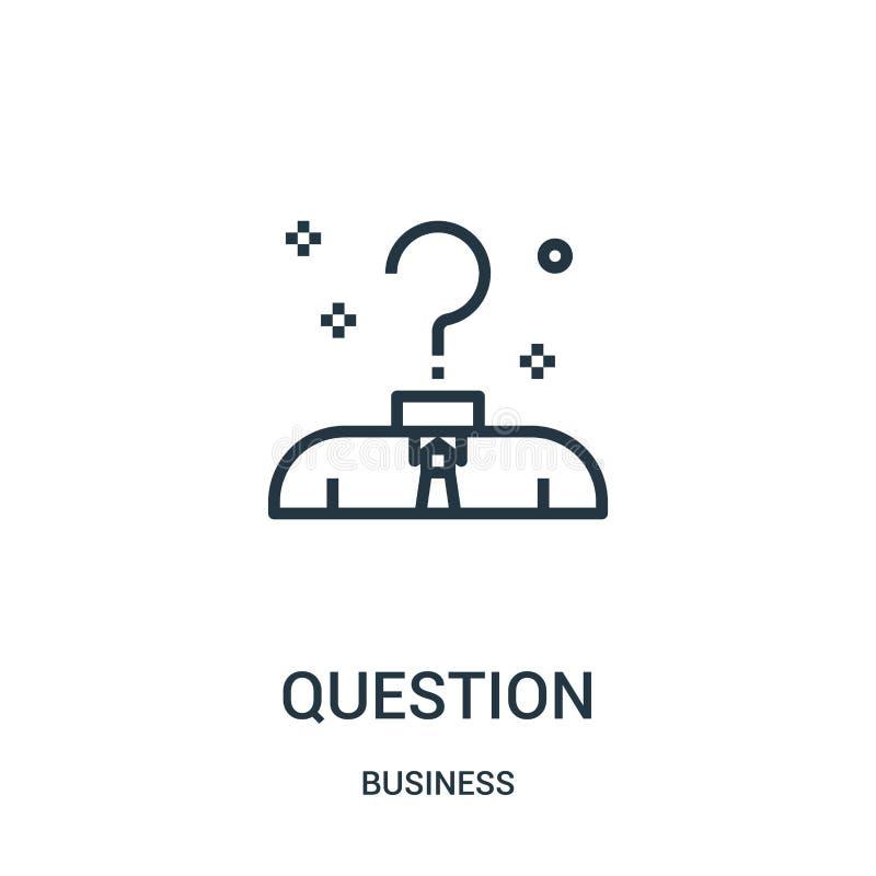 Fragenikonenvektor von der Geschäftssammlung Dünne Linie Fragenentwurfsikonen-Vektorillustration Lineares Symbol für Gebrauch auf vektor abbildung