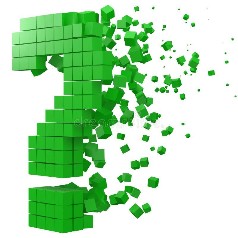 Fragenzeichen formte Datenblock Version mit grünen Würfeln Art-Vektorillustration des Pixels 3d lizenzfreie abbildung