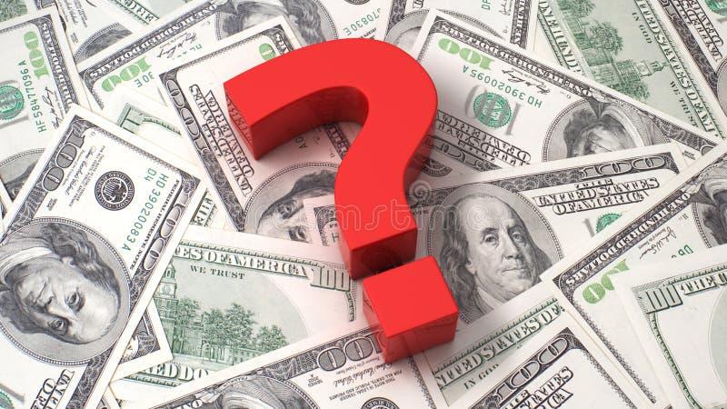 Fragezeichen auf dem Dollarhintergrund stock abbildung