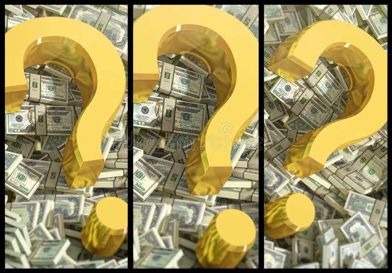 Fragezeichen auf Dollarbanknoten vektor abbildung