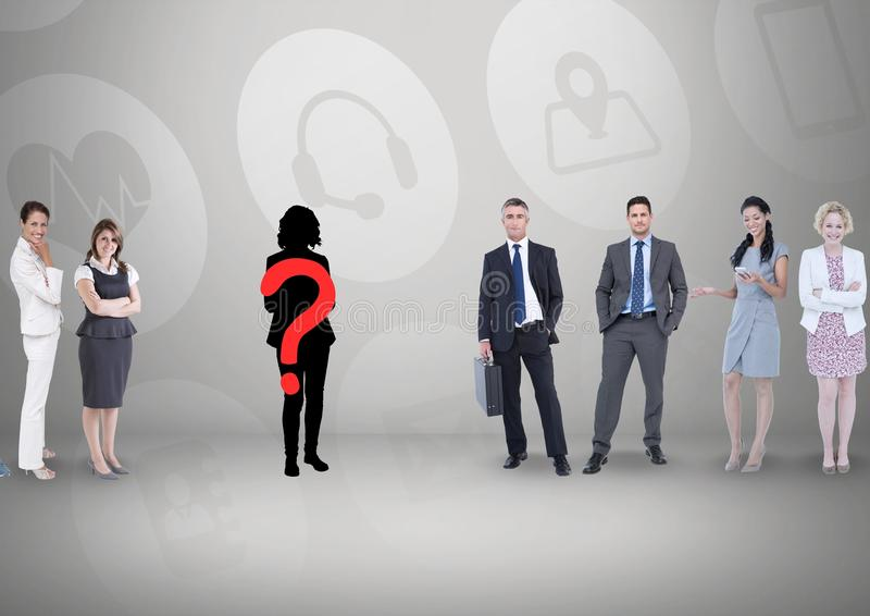 Fragezeichen auf Schattenbild mit Geschäftsleuten lizenzfreie stockfotos