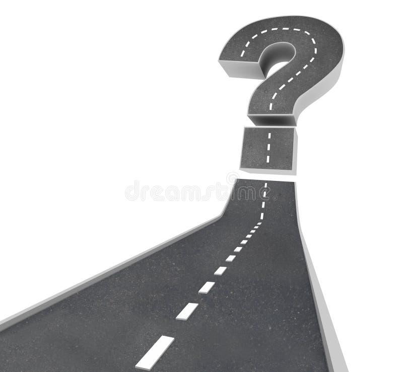 Fragezeichen auf Straße - Ungewissheit stock abbildung