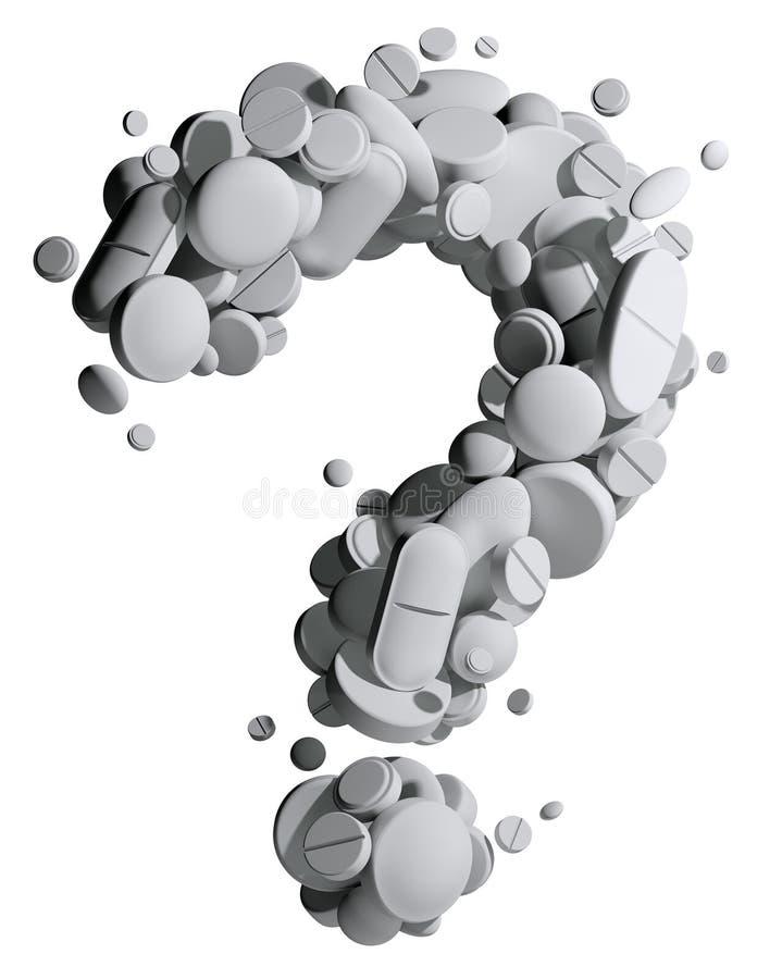Fragezeichen der medizinischen Pillen. lizenzfreie abbildung