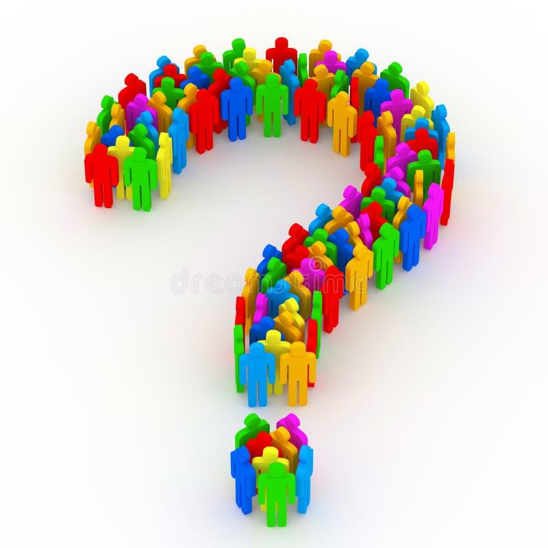 Fragezeichen gebildet von den bunten Leuten 3d lizenzfreie abbildung