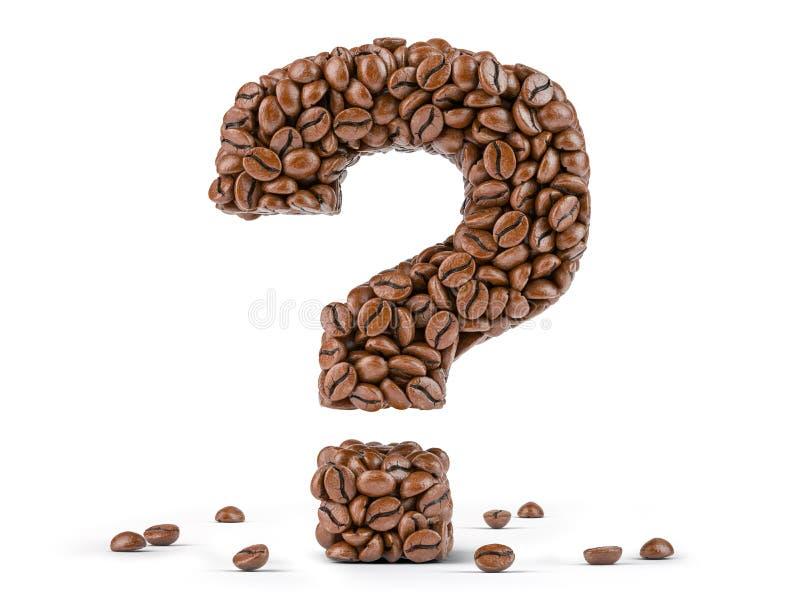 Fragezeichen geschaffen von den Kaffeebohnen lokalisiert auf wei?em Hintergrund stockbilder